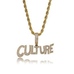 Placas de cultura on-line-CULTURA personalizado Bolha Carta Colar Iced Out CZ Pedra De Cobre De Prata Banhado A Ouro Cor Dos Homens Hip Hop Presente Da Jóia