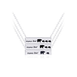 Wholesale Moms Christmas Gifts - Mama Bear Animal Pendant Necklaces Gold Silver Plated Alloy Pendants for Mom Fashion Necklace Jewelry Mothers Day Gifts