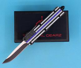 coltello nero mini tasca Sconti Allvin Manufacture Bandiera Blu 7 Inch 616 Mini Auto Coltello Tattico 440C Single Edge Drop Point Fine Black Blade Coltelli tascabili EDC