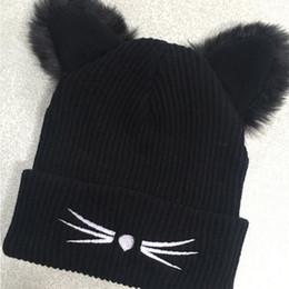 oído de sombrero negro Rebajas BONJEAN Mujeres Lana Gruesa de punto Beanie  Hat Cat Ear Cap cadb9856a76
