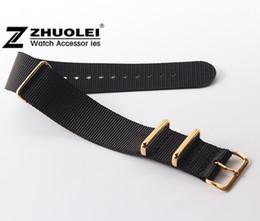 Чёрный ремешок для часов нейлон 24mm онлайн-Gold watch buckle Nato Nylon Watch Strap 18mm 20mm 22mm 24mm Black Bracelet watchband Free Shipping