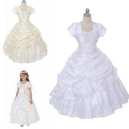 Wholesale White Strapless Dresses For Kids - 2018 White Ivory Flower Girl Dresses For Weddings Baby Birthday Taffeta Ruffled Beaded Kids Party Gowns Pageant Dress With Bolero Jacket