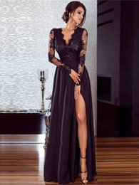 Evening Dresses 2019 Sexy Arabic Jewel Neck Illusion Lace Appliques Crystal  Beaded Black split Long Sleeves Formal Party Dress Prom Gowns 750195ab8