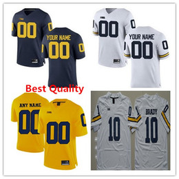 Wholesale Navy Kids Shorts - Custom Michigan Wolverines Football jerseys American college mens women kids Tom Brady Personalized Limited Stitched Navy blue white yellow