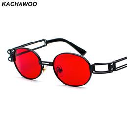 2019 vetri incorniciati rossi all'ingrosso Kachawoo all'ingrosso 6pcs vintage steampunk occhiali da sole accessori da uomo rossi montatura in metallo occhiali da sole ovali femminile giallo stile retrò vetri incorniciati rossi all'ingrosso economici