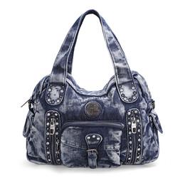 Wholesale Demin Top - Rock Style Fashion Totes Women Denim Handbags Casual Shoulder Bags Vintage Demin Blue Top Handle Bags Bolsa Large Travel Bags
