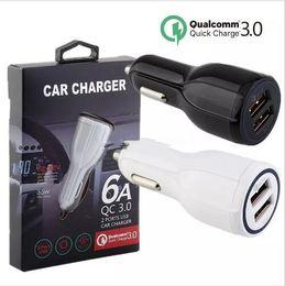 2019 carregador de carro sony emergency Carregador de carro 9 V 2A 12 V 1.2A QC3.0 rápido carga do carro 3.1A Dual USB Adapter Charger para smartphones com pacote