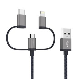 Wholesale Mfi Cables - dodocool MFi Certified 3.3ft   1m 3-in-1 Nylon Braided Micro-USB to USB 2.0 Cable with Lightning and USB Type-C Adapter Charge Sync DA120GY