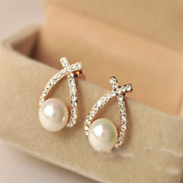 Wholesale Dangle Diamond Cross Earrings - Korean cross pearl earring for women flash Diamond Earrings for ladies exquisite fashion earrings special pearl jewelry