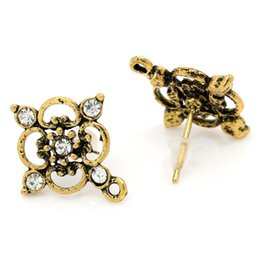 Wholesale Earring Post Stoppers - 50PCs Rhinestone Plum Blossom Earring Post Tone W Stoppers cut gold post office mobile phones