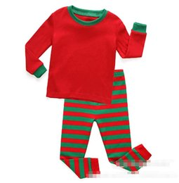 bebês desgaste da noite Desconto New Arrival Pajama set for Boys Girls Red Green Stripe Christas Pajamas Sleepwear Suits Top and Pants fit 2-8 Kids