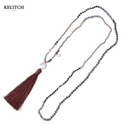 Wholesale Handmade Beaded Necklaces For Women - KELITCH Jewelry 1Pcs Crystal Beaded Necklace Long Chain Beads Tassel Handmade Pearl Charm Pendant Necklaces For Women Gifts Pack