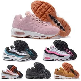Wholesale Low Flat Boots Women - Wholesale Women's 95 Running Shoes Pink White Chaussures Femme Air Cushion 95 Sneakers Boots Walking Sports Athletic Tennies Shoess
