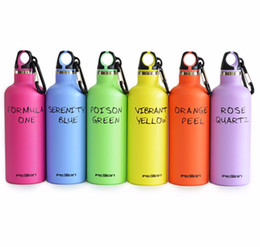 Wholesale insulated flasks - FEIJIAN Vacuum Insulated Cup Stainless Steel Sports Bottle Double Wall Flask Narrow Mouth Thermos LoopCap with Carabiner 17oz DDA104