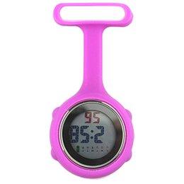 Enfermera reloj digital online-2018 Nuevo reloj de bolsillo populares 1Pc digital dial Clip-On Fob broche de la enfermera del Pin Cuelgue reloj de bolsillo eléctrico