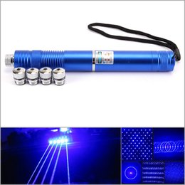 Wholesale Focus Pens - Strong High Power 450nm Blue Laser Pointer Pen Focus Zoom Torch Flashlight 5 Star Caps Instructions Free Shipping