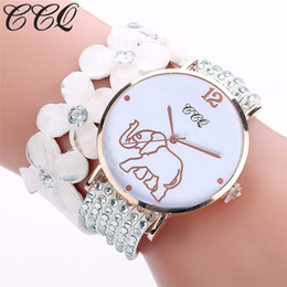 elephant wrist watches Promo Codes - Hot Fashion Creative Elephant Pattern Watches Women Casual Quartz Bracelet Watch Crystal Diamond Wrist Watches Gift Reloj Mujer