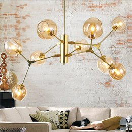 Wholesale Hotel Shopping - New Modern Chandelier Light Globe Glass Shade Lindsey Adelman Pendant Lamp Bar Stair Dining Room Light Fixtures for kitchen cafe cloth shop