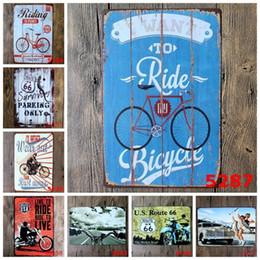 2019 stagno stampato all'ingrosso Metallo 20 * 30cm Targhe in metallo Voglio andare in bicicletta Moto Poster in metallo US Route 66 Ferro dipinto per parete 3 99lji BB