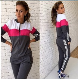 Wholesale Motorcycle Racing Suit Jacket - The spring and autumn leisure suit female Korean slim sportswear color long sleeved sweater two piece suit jacket + pants
