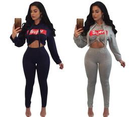 Wholesale Baseball Crop Top - Hot Sale Women 2 Piece Set super Tracksuit Fashion Long Sleeve Sportsuit Women Sexy Crop Tops + Slim Pants Suits