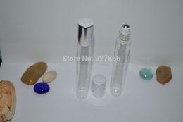 Wholesale Perfume Oz - Wholesale- 12x 15ml Slim Clear Tube Glass Roll-On fragrance perfume bottles,Refillable & Portable 1 2 Oz perfume Roll on bottle,Silver cap