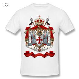 Wholesale Men Over Coats - Round Collar Men's Knights Templar - Coat of Arms over Black Velvet T Shirts Round Neck Design T-Shirt