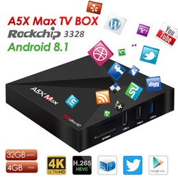 Wholesale hd media player usb - A5X Max Android TV Box Rockship RK3328 4GB 32GB Android 8.1 Smart Media Player Support BT 4.0 Wifi 2.4G USB 3.0 IPTV Better S905W S912