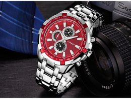 Uhr stahl japan movt online-Neues Modell berühmter Entwerfer MÄNNER stilvoller Curren8023 Japan Movt Stahlarmbanduhr neue Tauchens-rostfreie Uhr Sportart Militärmänner Uhren