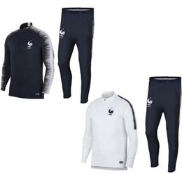 Wholesale Full Feet - Maillot de Foot survetement Homme 2018 2019 jerseys football jogging Equipe de france new long sleeve soccer tracksuit,training track suit