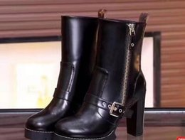 Wholesale Chunky Heel Platform Booties - Luxury Brand Women Martin Boots Black Real Leather Cowhide Buckle Chunky Heel 9.5cm Fashion Booties,Brand New 2cm Platform Short Boots Shoes