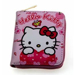 3fcd679039eb Pink Girls Hello Kiy Кошелек для монет Женщины Кожаный кошелек на молнии  Маленький держатель карты Карманные монеты Подарки Леди Доллар Цена Сумки  cartera