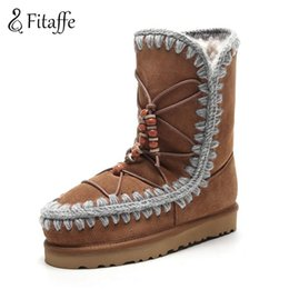 Wholesale calf height boots - Fitaffe Women's Boots Bohemia Women Fringe Increasing Heels Bead Lacing Botas Mujer Height Increasing Platform Fur Snow Boots
