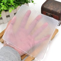 Wholesale Breast Wrap - 4pcs set Clear Reusable Silicone Food Wraps Seal Cover Stretch Multifunctional Food Fresh Keeping Saran Wrap Kitchen Tools
