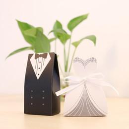 Wholesale Wedding Sugars Favors - 100Pcs Candy Box Bridal Gift Cases Groom Tuxedo Dress Gown Ribbon Wedding Favors Sugar Case Wedding Dresses Party Decoration