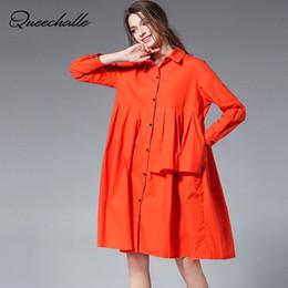 camisa naranja de manga larga para mujer. Rebajas 3XL 4XL Vestido de algodón de talla grande para mujer 2018 Vestido de algodón de manga larga de manga larga Sweet Loose Cazadoras de color negro naranja Caqui