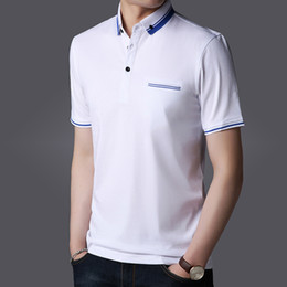 Wholesale Men Slim Work Shirts - Casual T Shirts Polos Work T Shirts Summer Tees Tops Brand Mens Clothing Plus Size 2018 High Quality Blue White