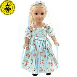 "Wholesale girl elegant coats - American Girl Doll Clothes Elegant Color Flower Print Long Dress Doll Clothes For 18"" American Girl Best Gift 5 Colors D-2"