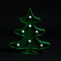Wholesale 3d Tree For Kids Wall - 3D Christmas Tree Night Light Battery Operated Wall Lamp Marquee LED Warm White Table Lamp for Kids Gift