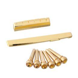 Sillín de guitarra online-6 Sting Acoustic Guitar Brass Brass Pins \ 72mm Saddle \ Nut Partes de guitarra