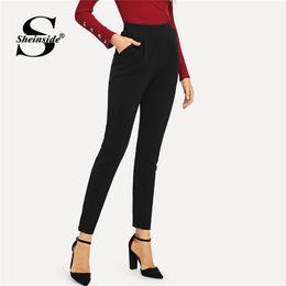 31a43f38f08d2 Sheinside Black Pocket Side Skinny Pants Office Lady Workwear 2018 Autumn  Women Fashion High Waist Trousers Elastic Womens Pants
