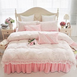 Wholesale Pink Crib Skirts - Luxurious Sweet Vintage Floral Girls Bedding Set Korean Ruffle And Lace Bedding Sets Lace Bed Skirt Twin Queen