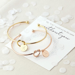 Wholesale white wire ties - MESTILO Trendy Tie knotted Open Cuff Love Bangle Rose Gold Sliver Coin 26 Letters Initial Charm Bracelets Wire Bangles For Women