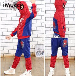 Wholesale Spiderman Baby Suit - iMucci Spiderman Baby Boys Clothing Sets Cotton Sport Suit For Boys Clothes Spring Spider Man Cosplay Costumes KIds Clothes Set