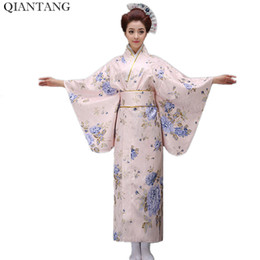 pink japanese kimono Coupons - New Classic Traditional Japanese Women Yukata Kimono With Obi Stage Performance Dance Costumes One Size HW047