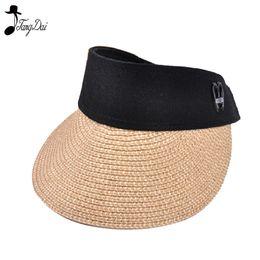 9da50293abf Summer Women Ribbon Bow Straw Visor Sun Hat Lady Empty Top Hats Wide Brim  Beach Sun UV Protection Cap