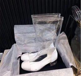 Wholesale pvc rain boots - Luxury brand New Women Designer Fashion PVC Clear Plastic Rain boots Lady Girls quality European Style with box