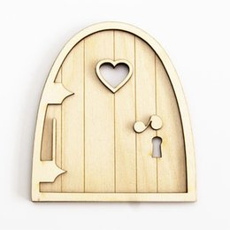 Wholesale Artificial Plastic Plants - 6pcs 3d Wooden Fairy Garden Heart Door Craft Embellishments Decoration Diy Painting Decoration Kids Birthday Hobby Gift
