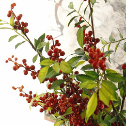 Wholesale Long Branches Artificial Flowers - New 88CM 6 Branches Artificial Flowers Long Artificial Berry Fake Fruit Cherry Home Decor Wedding DIY Decorative Plants