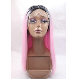 Wholesale Pink Cosplay Wigs Short - High Quality Cosplay Dark Roots Ombre Pink Short Bob Wigs Heat Resistant Glueless Synthetic Lace Front Wigs for Black Women